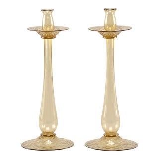 Barovier and Toso Amber Murano Glass Candlesticks - Pair For Sale