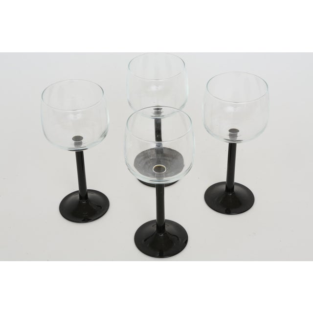 Vintage French Black Stem Glasses - Set of 4 - Image 3 of 7