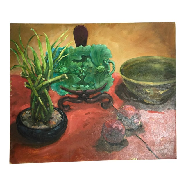 Majolica, Pomegranates & Bamboo Still Life Oil Painting - Image 1 of 7