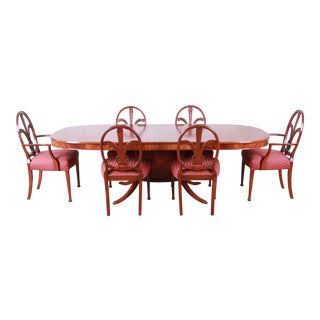 Romweber Carved Mahogany French Regency Dining Set, Newly Refinished For Sale