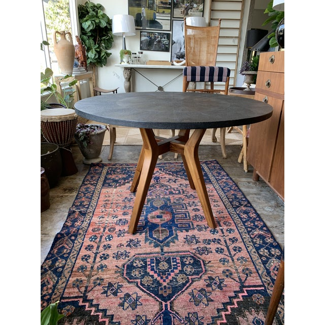 2010s Contemporary Made Goods Black Faux Shagreen Round Dining Table For Sale - Image 5 of 5