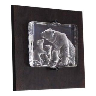 Vintage Swedish Carved Crystal Polar Bears Slab Sculpture For Sale