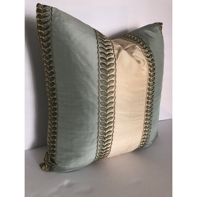 Decorative throw pillow using high end designer Manual Canovas fabric, and a high end 25% goose down and 75% goose feather...