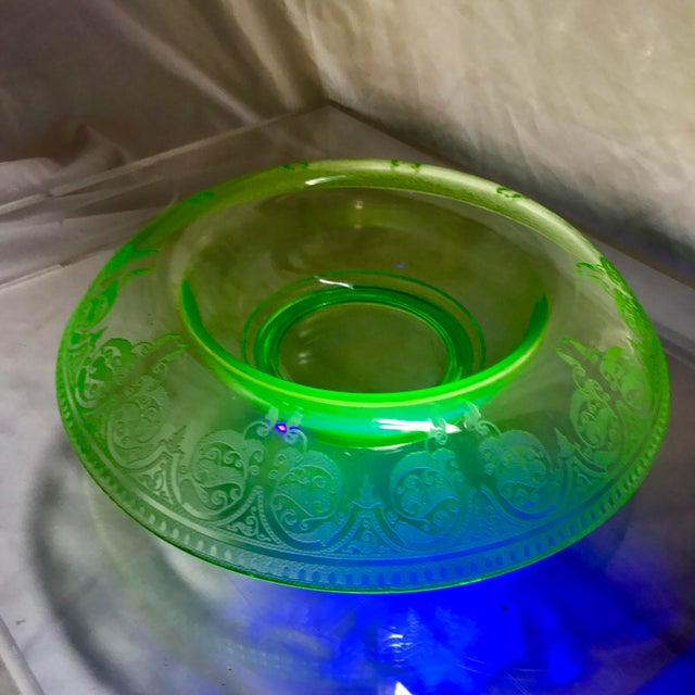 Etched Green Uranium Depression Glass Console Bowl For Sale In New York - Image 6 of 6