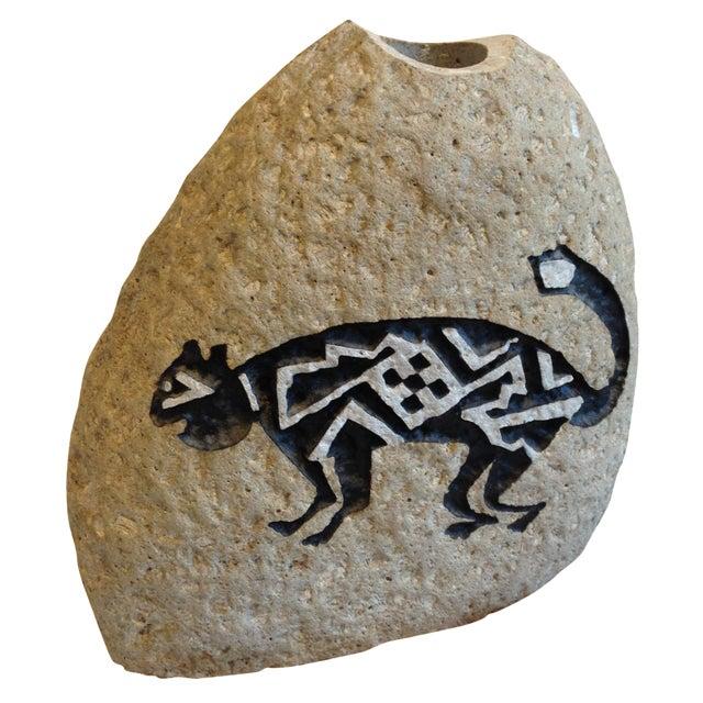 Southwestern Cat Motif Stone Vase by Bill Worthen - Image 1 of 8