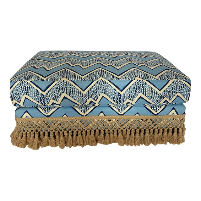 Modern Ottoman With Samuel and Sons Fringe For Sale
