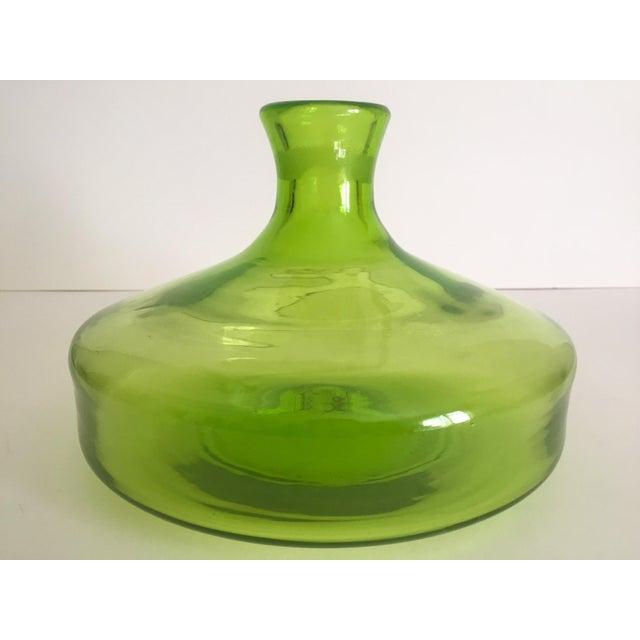 Vintage Blenko Mid-Century Chartreuse Handmade Glass Vase - Image 5 of 11