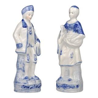 Vintage Blue & White Porcelain Man & Woman Figurines- a Pair For Sale