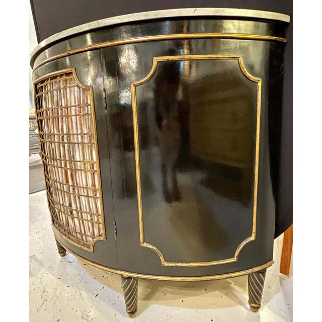 Wood Ebony Demilune Commode or Server Hollywood Regency For Sale - Image 7 of 13