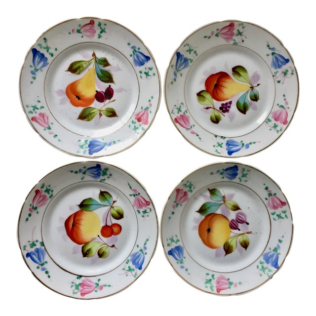 4 Antique French Porcelain Hand-Painted Fruit Plates For Sale