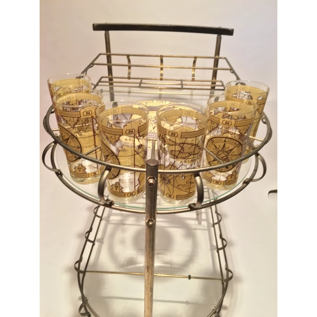 1960s Mid-Century Brass Bar Cart With 6 Matching Glasses For Sale - Image 5 of 9