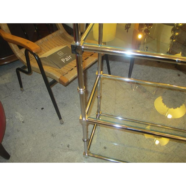 Mid-Century Modern Pair of Chrome Etageres/Bookcases With Glass Shelves For Sale - Image 3 of 9