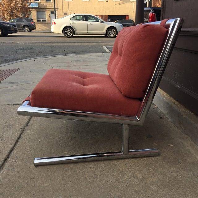 Arthur Umanoff Arthur Umanoff Mid-Century Modern Chrome Cantilevered Sled Chair For Sale - Image 4 of 6
