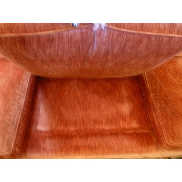 Coral Velvet Sofa For Sale In Chicago - Image 6 of 9