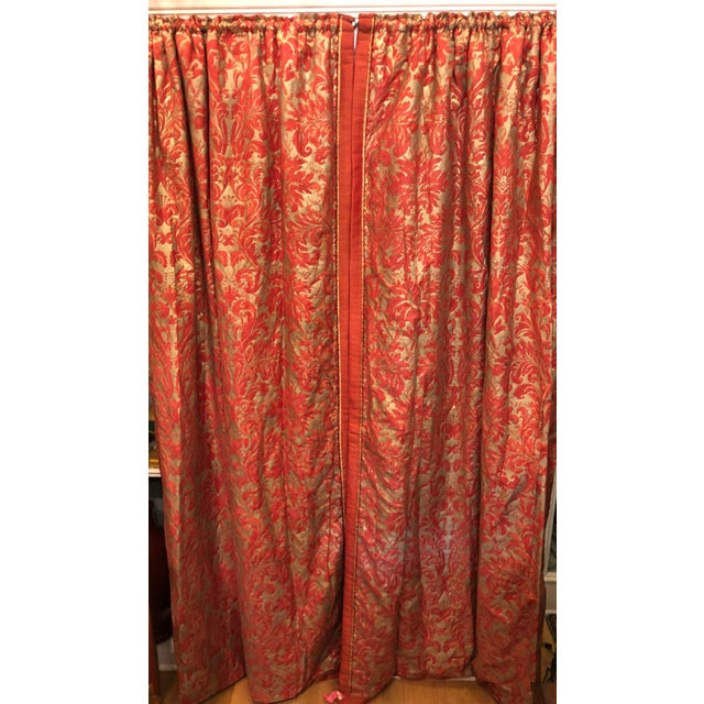 Orange Pair of Genuine Fortuny Gold & Orange-Red Curtains Drapes W Silk Verso For Sale - Image 8 of 8