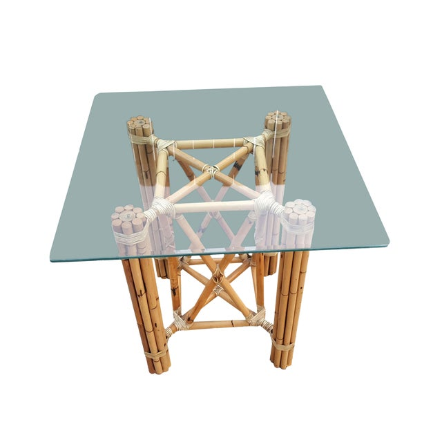 1980s Vintage Bamboo McGuire Rawhide Wrapped Rattan Style Reeded Table Base For Sale