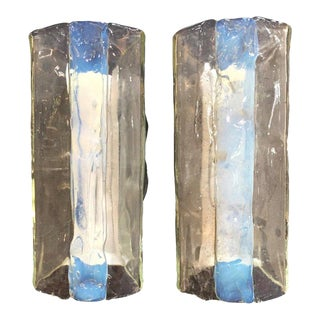 Pair of Iridescent Murano Sconces by Mazzega, Italy, 1960s
