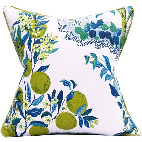 """Citrus Garden"" Schumacher Josef Frank Blue & White Pillow Cover - Image 6 of 6"