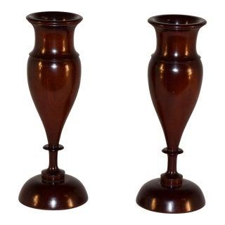 Pair of Lignum Vitae Vases, Circa 1900 For Sale
