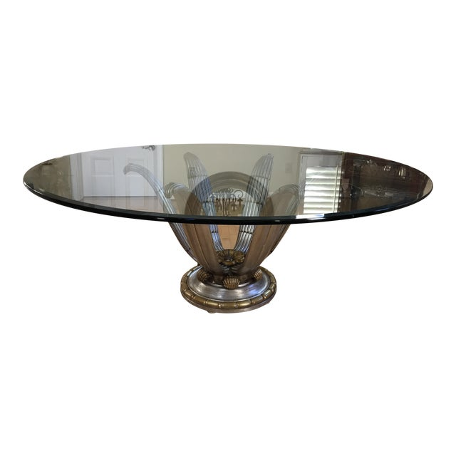 Italian Glass Top Dining Table - Image 1 of 6