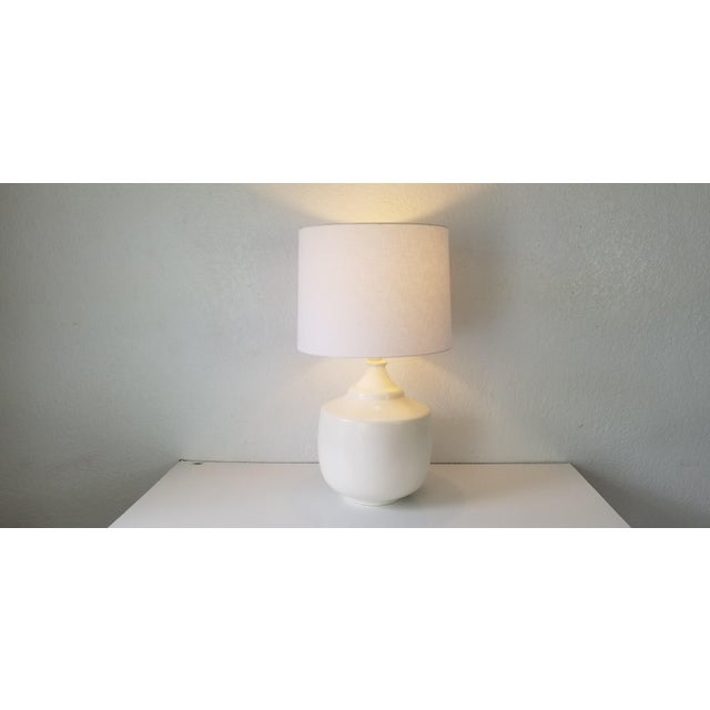 Jacques Grange Style Flat White Glazed Table Lamp. For Sale - Image 9 of 11