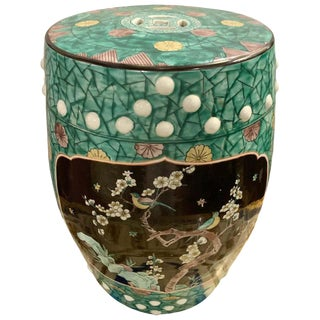 Antique Ebony and Floral Decorated Chinese Garden Stool Porcelain For Sale