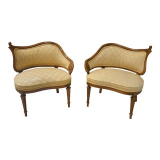 Pair French Asymmetrical Hollywood Regency Chairs Pair French Walnut Slipper Chairs/ Settees For Sale