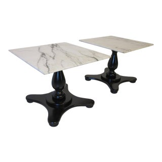 Italian Carrara Mable Top Pedestal Based Side Tables - a Pair For Sale