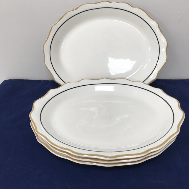 Traditional 20th Century Traditional Syracuse Oval Ivory Serving Plates - Set of 4 For Sale - Image 3 of 10