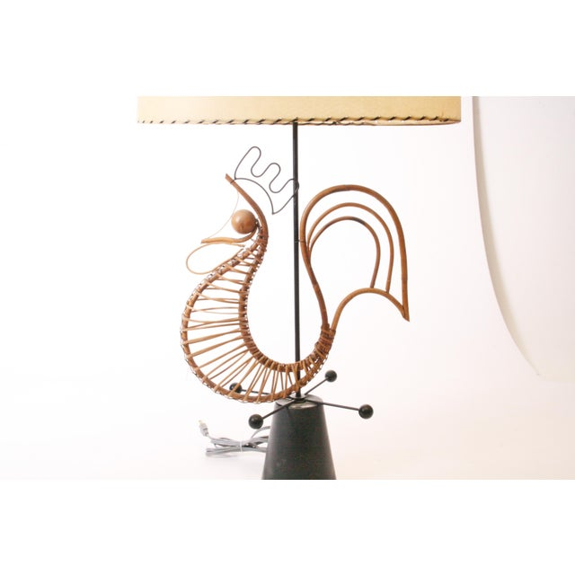 Frederick Weinberg Mid Century Modern Wicker Table Lamp For Sale - Image 5 of 11