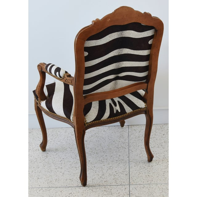 Brown 1950s Carved Hardwood & Tiger Cowhide Upholstered Armchair For Sale - Image 8 of 13