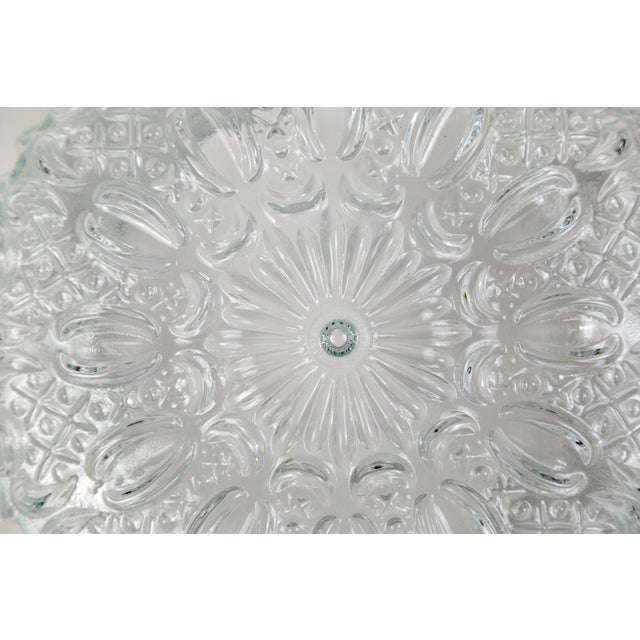 Glashütte Limburg Mid Century Vintage Floral Hatch Limburg Glass Flush Mount (2 Available) For Sale - Image 4 of 10