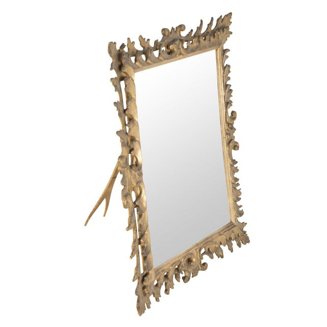 Late 19th Century Italian Rococo Style Gilt Wood Vanity Mirror For Sale - Image 5 of 8