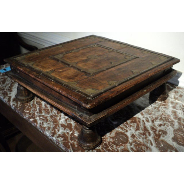 Antique Primitive Indian Wood & Brass Small Table - Image 3 of 9