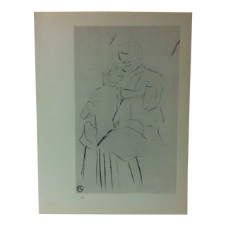 """Circa 1980 """"Sketch for a Song by Desire Dihau 1899"""" Print of a Toulouse-Lautrec Drawing For Sale"""