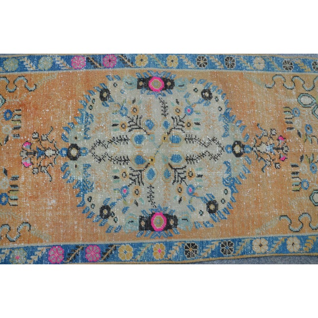 Textile Turkish Oushak Vintage Tribal Wool Carpet - 2′8″ × 5′6″ For Sale - Image 7 of 11