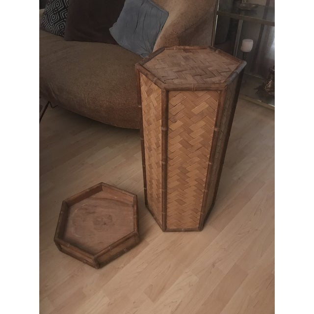 Brown Rolling Woven Bamboo Pedestal Plant Stand For Sale - Image 8 of 10