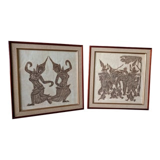 A Pair- Vintage Framed Thai Temple Rubbings on Rice Paper For Sale