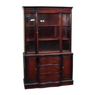 Dark Red Mahogany China Cabinet With Serpentine Front For Sale