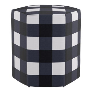Hexagonal Ottoman in Navy Check For Sale