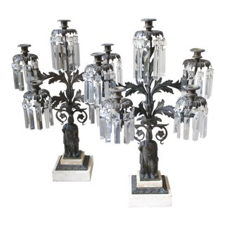 Bronze, Marble, and Crystal Candelabras - A Pair