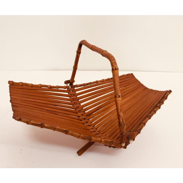 Japanese Mid Century Folding Bamboo Basket With Handle For Sale In Los Angeles - Image 6 of 12