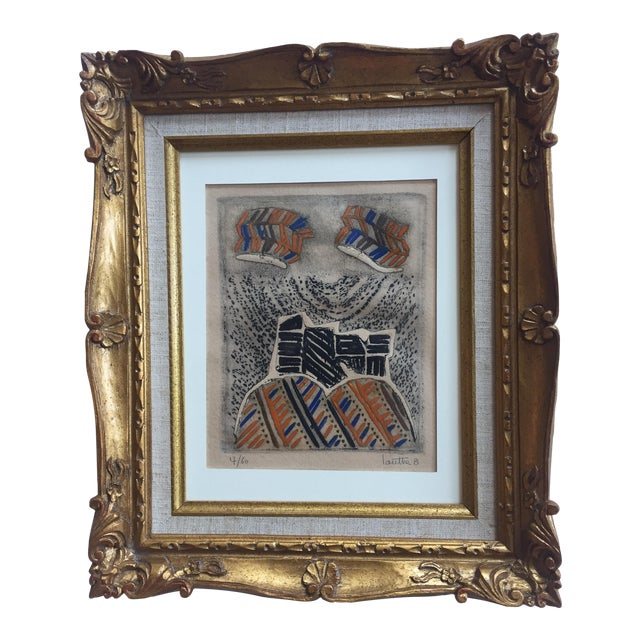 Vintage Original Lithograph Abstract by Jean Lauthe For Sale