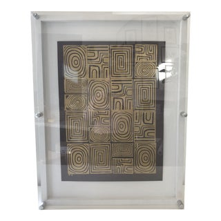Gold Kuba Print Textile in Acrylic Frame For Sale