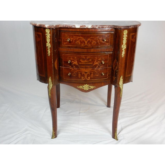 19th C. Italian Marquetry Marble Top Inlaid Table For Sale - Image 5 of 11