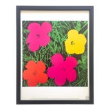 "Image of Andy Warhol Estate Vintage 1989 Framed Pop Art Lithograph Print "" Flower "" 1964 For Sale"