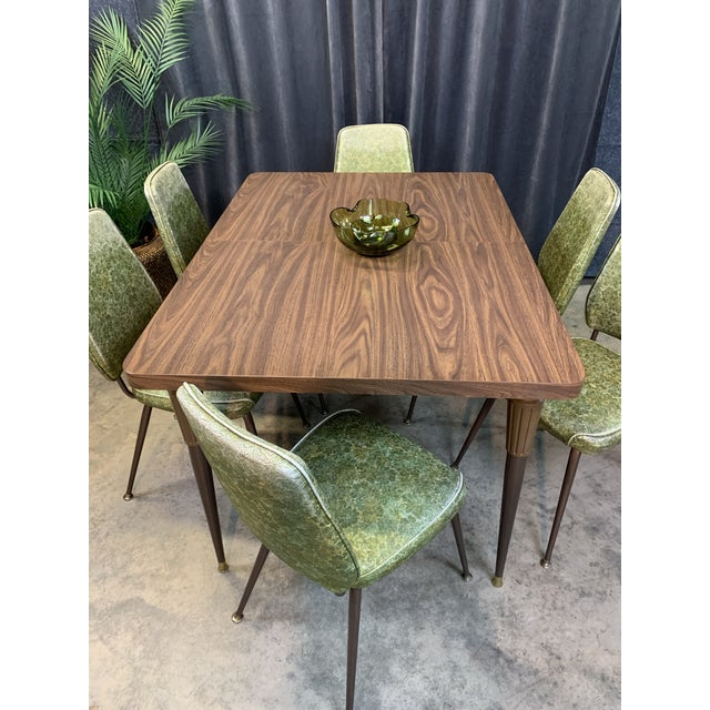 Chromecraft Mid-Century Modern Green Upholstered Dinette Set - 7 Pieces For Sale In Charlotte - Image 6 of 11