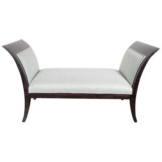 Midcentury Streamlined Bench in Ebonized Walnut and Powder Blue Woven Fabric For Sale