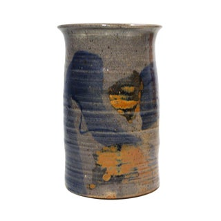 Vintage Gray with Blue and Yellow Vase