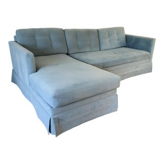 Custom Made Blue Velvet Sectional Sofa For Sale